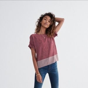 Madewell 100% Silk Tee In Ascot Tile With Tie Back